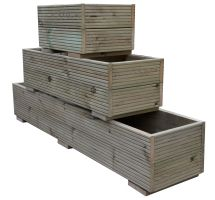 Buy 600mm x 300mm x 400mm Swedish Pressure Treated Wooden Decking Planter